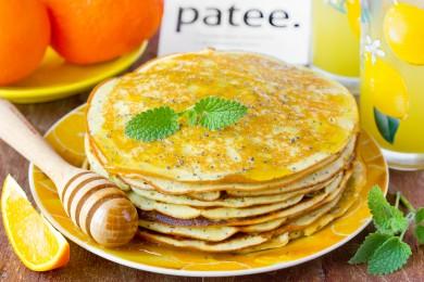 Рецепт Апельсиновые панкейки с маком