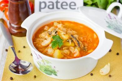 Рецепт Щи с фасолью и рыбными консервами