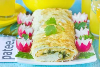 Рецепт Рулет из белкового омлета с сыром и зеленью