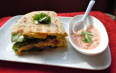 Рецепт Кесадилья со шпинатом и авокадо