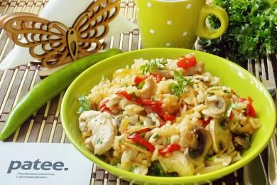 Рецепт Куриная грудка с овощами и рисом