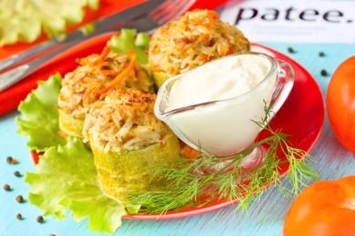Рецепт Кабачковые бочонки с мясом и рисом