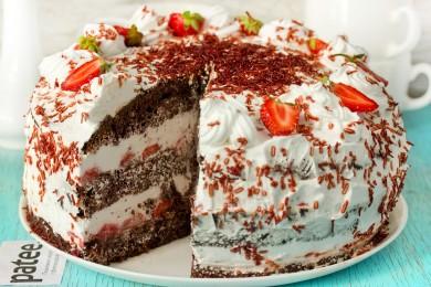 Рецепт Торт шоколадный Клубника в сливках
