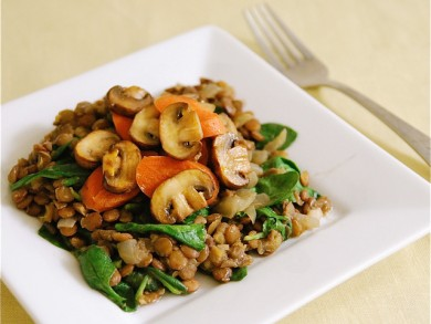Рецепт Чечевица с грибами и морковью