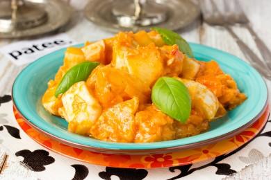 Рецепт Патиссоны в сметанно-томатном остром соусе