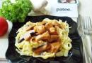 Свинина с грибами в томатно-сливочном соусе