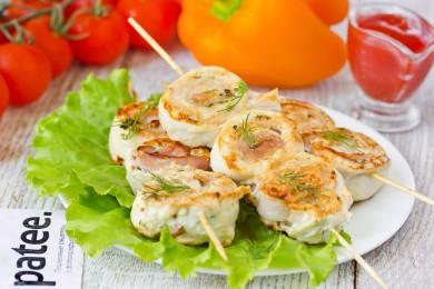 Рецепт Шашлычки из куриного филе с беконом