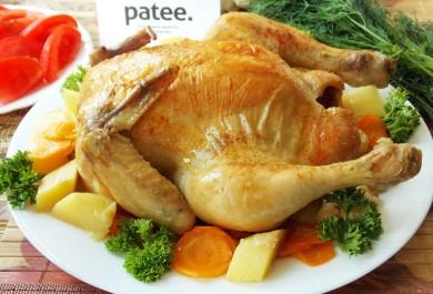 Рецепт Курица, запеченная в рукаве с овощами