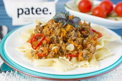Рецепт Паста с фаршем из свиного языка и овощей