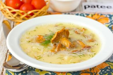 Рецепт Суп с лисичками и плавленым сыром