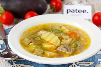 Рецепт Куриный суп с баклажанами