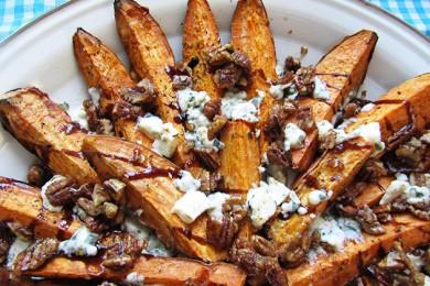 Рецепт Печеный сладкий картофель с сыром и пеканом