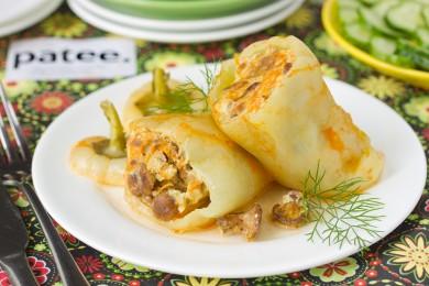 Рецепт Перец, фаршированный куриным фаршем и лисичками