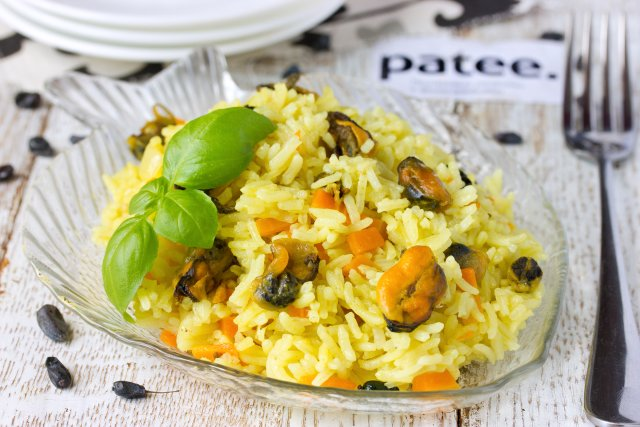 Рецепт мидии с рисом рецепт