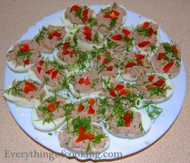 Рецепт Яйца, фаршированные тунцом