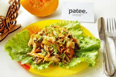 Рецепт Теплый салат из тыквы и куриной грудки