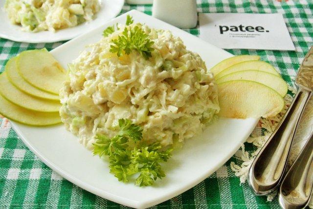 Салат ананас курица яблоко