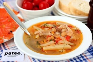 Рецепт Суп со свиными рёбрышками и консервированной фасолью