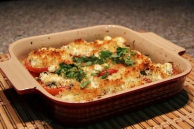 Рецепт Гратен из помидоров с козьим сыром