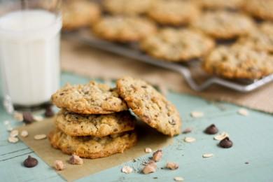 Рецепт Овсяное печенье с шоколадом и карамелью
