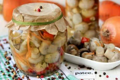 Рецепт Шампиньоны, маринованные с овощами
