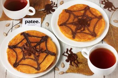 Рецепт Тыквенные блины с паутинкой на Хэллоуин