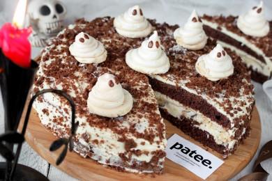 Рецепт Шоколадный торт с ореховой меренгой на Хэллоуин
