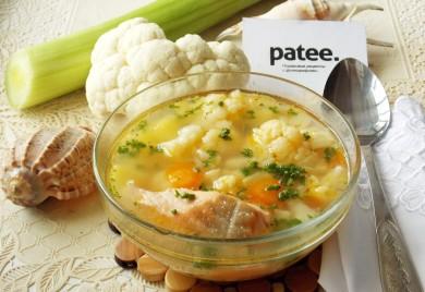 Рецепт Суп из форели с цветной капустой и луком - пореем