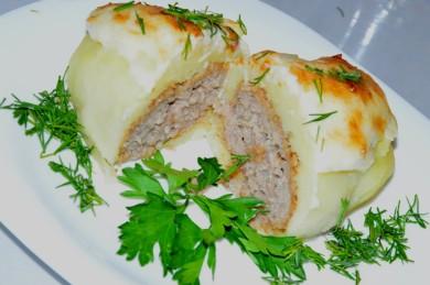 Рецепт Котлетка в картошке под сырной шапкой