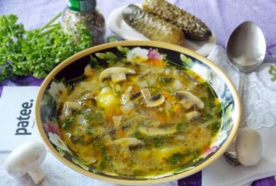 Рецепт Рассольник с грибами