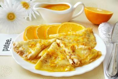 Рецепт Блинчики Креп Сюзетт с апельсинами