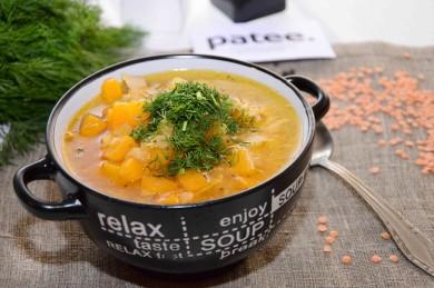 Рецепт Суп из красной чечевицы с тыквой и курицей