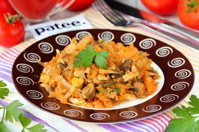 Рецепт Капуста с грибами и яйцами, тушеная в мультиварке — рецепт для мультиварки