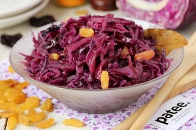 Рецепт Краснокочанная капуста с изюмом и черносливом в мультиварке — рецепт для мультиварки
