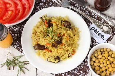 Рецепт Рис с белыми грибами и куриными сердечками в мультиварке — рецепт для мультиварки