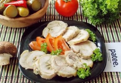 Рецепт Рулет из курицы с сыром и грибами