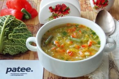 Рецепт Овощной суп с пекинской и савойской капустой