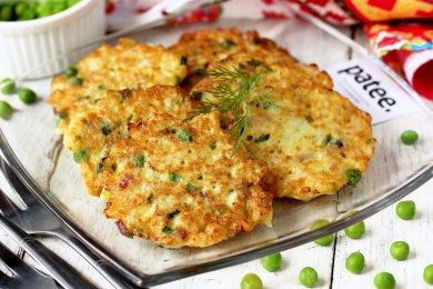 Рецепт Оладьи из цветной капусты с зелёным горошком и луком