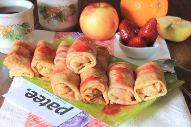Рецепт Блинчики с карамельно-фруктовой начинкой