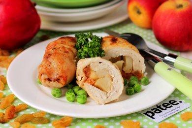 Рецепт Куриные рулетики с яблоками и изюмом