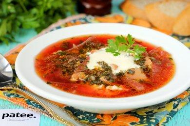 Рецепт Зелёный борщ со щавелем и шпинатом