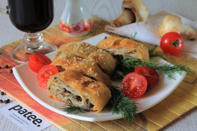 Рецепт Штрудель из теста фило с грибами