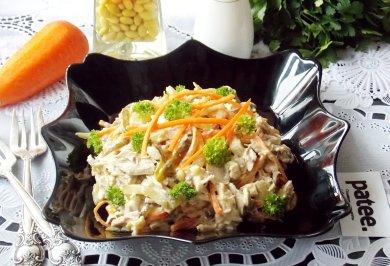 Рецепт Салат с отварной индейкой и грибами