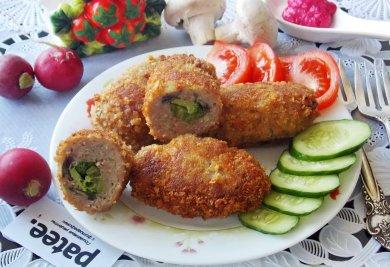 Рецепт Зразы мясные с грибами и брокколи