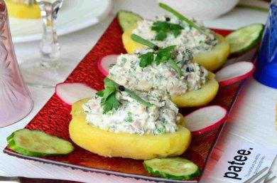 Рецепт Картофельные лодочки с сельдью
