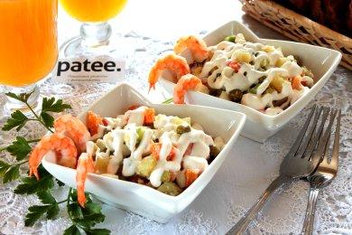 Рецепт Оливье с креветками