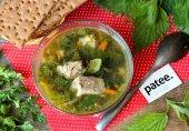 Зелёный суп со свининой, крапивой и щавелем