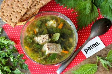 Рецепт Зелёный суп со свининой, крапивой и щавелем