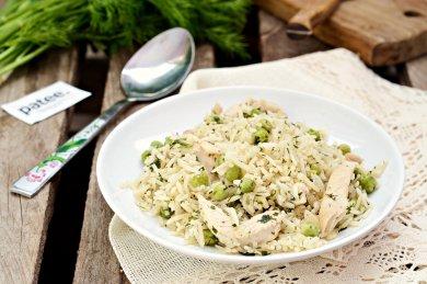 Рецепт Рис с зеленью и горошком