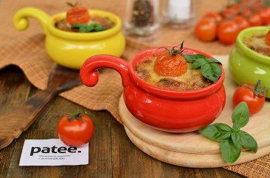 Рецепт Бурый рис с грибами под сырной корочкой